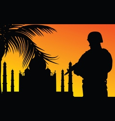Soldier with religious monument silhouette vector