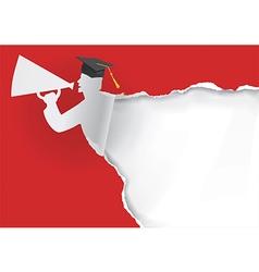 Paper silhouette of graduate vector image