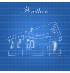 Drawing of the home on a blue background vector