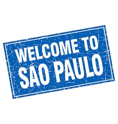 Sao Paulo blue square grunge welcome to stamp vector image