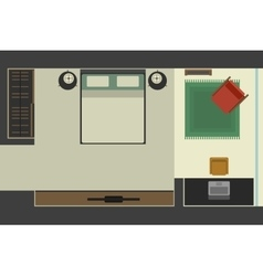 Bedroom in flat style top view vector image vector image