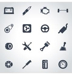 Black car parts icon set vector
