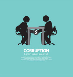 black symbol of two men in corruption concept vector image