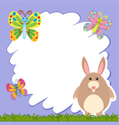 Border template with brown rabbit vector