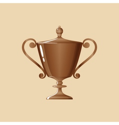Bronze cup of winner on yellow background vector