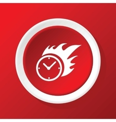 Burning clock icon on red vector