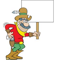 Cartoon cowboy holding a sign vector