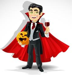 Charming predatory vampire with halloween pumpkin vector