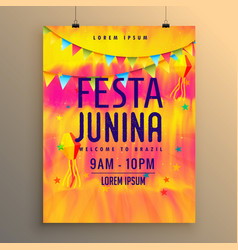 festa junina flyer design invitation template vector image