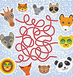 funny animals - labyrinth game for Preschool vector image vector image