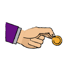 hand business man holding coin money image vector image