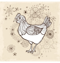 Hand drawn vintage card with chicken vector