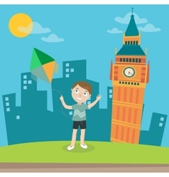 Happy boy launches kite in london vector