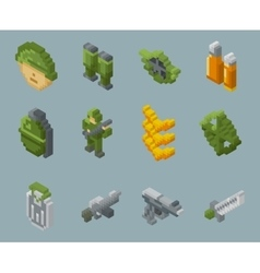 Isometric pixel soldiers and weapons icons vector image vector image