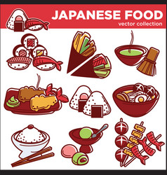 Japanese food dishes icons for japan vector