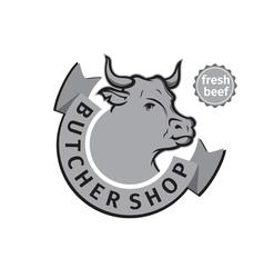 Label of butcher shop vector