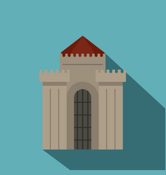 Medieval building icon flat style vector