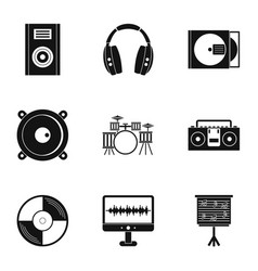 Music equipment icon set simple style vector
