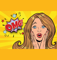Omg glamorous kitsch pop art blond woman vector
