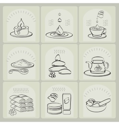 Outline set spa theme icons vector