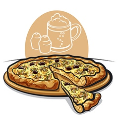 pizza with mushrooms vector image
