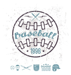 Retro emblem baseball college team vector image