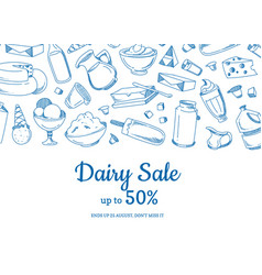 sketched dairy elements sale vector image