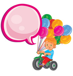 Small boy ride tricycle with balloons vector