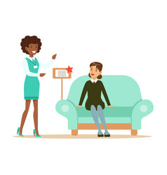 Store seller showing blue sofa to woman smiling vector