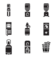 Water cooler black icons vector