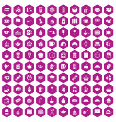 100 tea cup icons hexagon violet vector image vector image