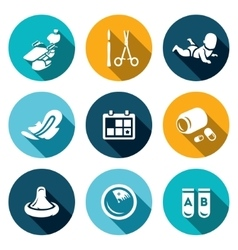 Set of abortion icons equipment surgery vector