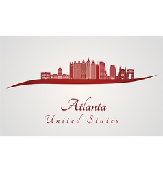 Atlanta V2 skyline in red vector image
