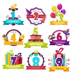 Birthday party colorful emblems vector