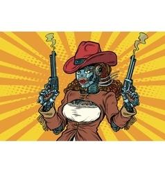 Robot woman gangster steampunk wild west vector