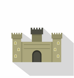 Old fortress towers icon flat style vector