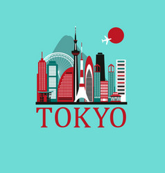 Tokyo travel background vector