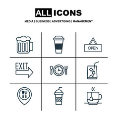 Set of 9 eating icons includes board ale vector