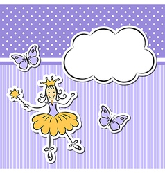 Little girl with paper cloud and butterflies vector