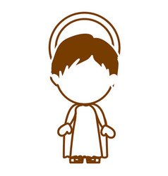 Brown silhouette of faceless image of child jesus vector