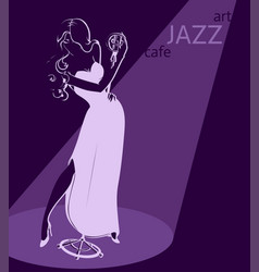 Sexy jazz singer poster template vector