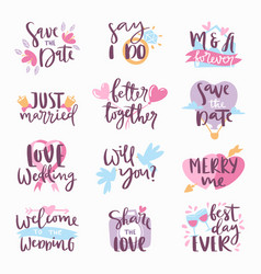 wedding day calligraphy lettering handmade vector image