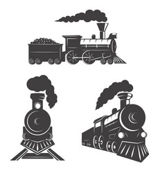 Set of trains icons isolated on white background vector