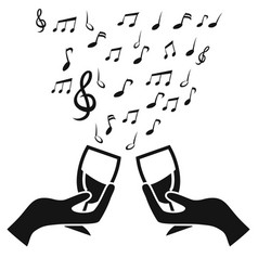 Glass cup cheers with music note vector