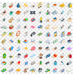 100 pharmacy icons set isometric 3d style vector