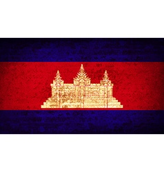 Flags cambodia with dirty paper texture vector