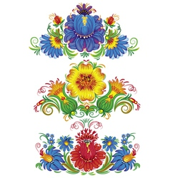 Three decorative arrangement of flowers vector