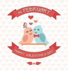 Happy valentines card ribbon birds vector