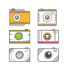 Camera line icons vector