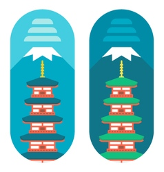 Flat design chureito pagoda vector